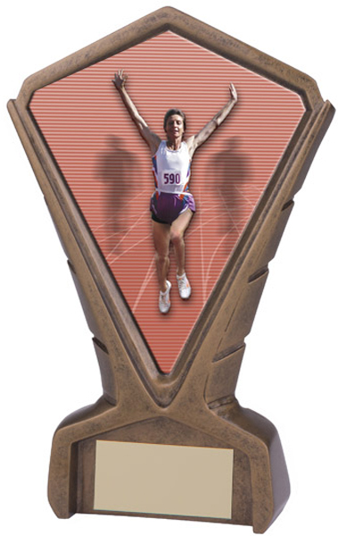 "Gold Resin Phoenix Female Running Centre Trophy 17cm (6.75"")"