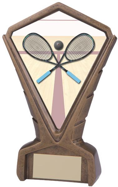 """Gold Resin Phoenix Squash Centre Trophy 17cm (6.75"""")"""