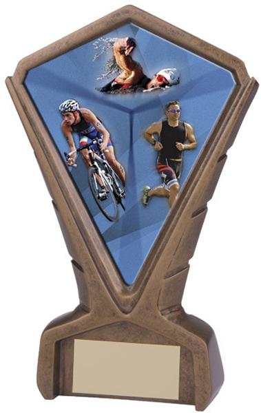 "Gold Resin Phoenix Triathlon Centre Trophy 17cm (6.75"")"