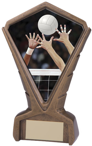 """Gold Resin Phoenix Volleyball Centre Trophy 17cm (6.75"""")"""
