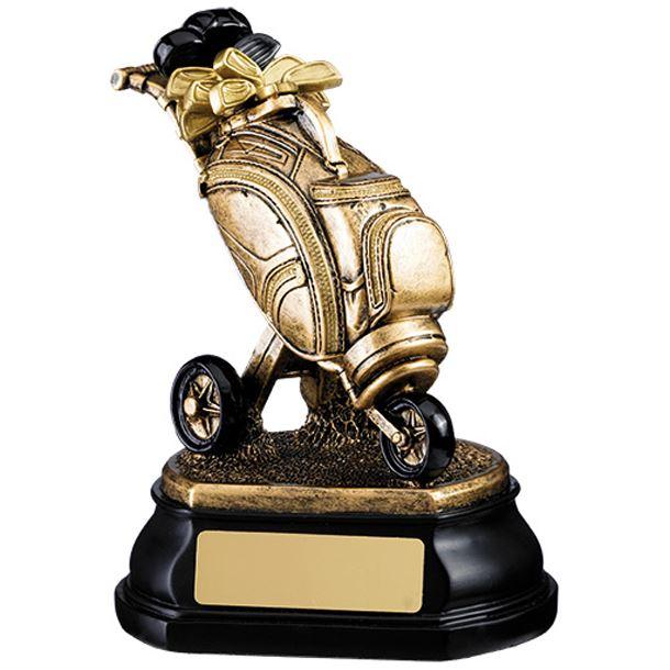 """Gold Resin Golf Bag Trophy on Black Base 12.5cm (5"""")"""