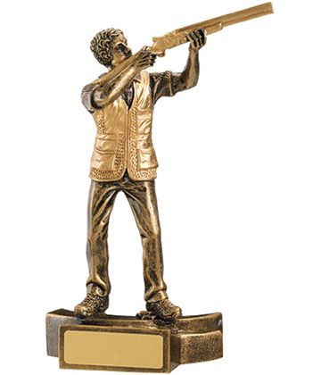"""Gold Resin Male Clay Pigeon Shooting Trophy 18cm (7"""")"""