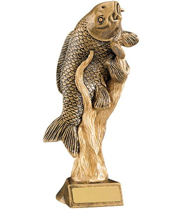 "Antique Gold Resin Fishing Trophy 21cm (8.25"")"