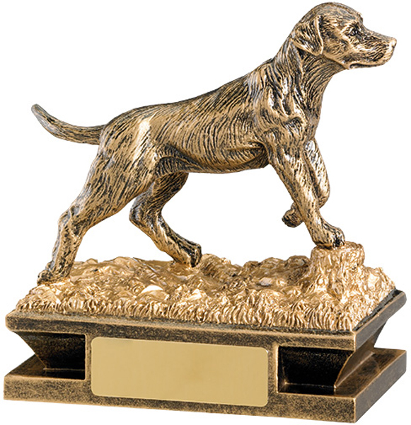 "Antique Gold Labrador Retriever Dog Trophy 11cm (4.25"")"