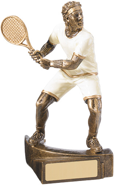 "White & Gold Male Tennis Player Trophy 16cm (6.25"")"