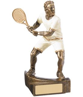 """White & Gold Male Tennis Player Trophy 16cm (6.25"""")"""