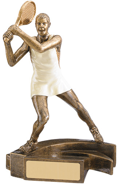 "White & Gold Female Tennis Player Trophy 16.5cm (6.5"")"