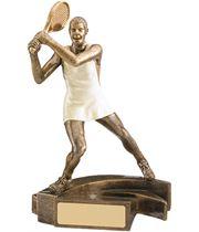 "White & Gold Female Tennis Player Trophy 16.5cm (6.5"")"