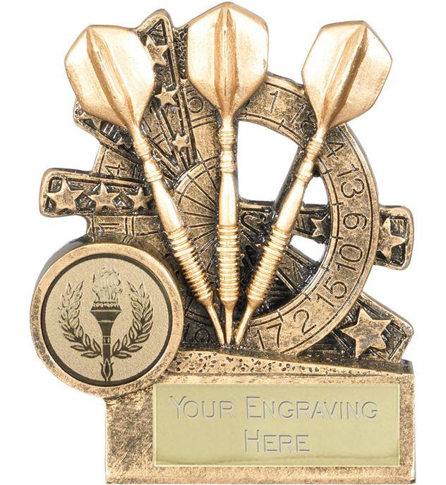 "Darts Trophy with Dartboard Background 9cm (3.5"")"