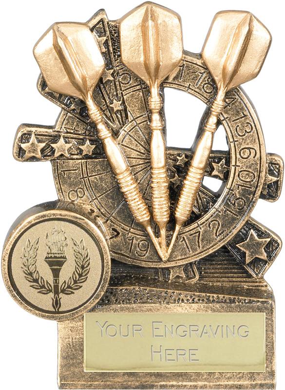 "Darts Trophy with Dartboard Background 10cm (4"")"