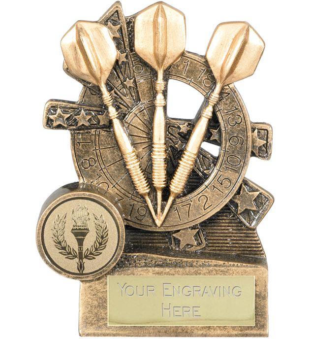 "Darts Trophy with Dartboard Background 11cm (4.25"")"