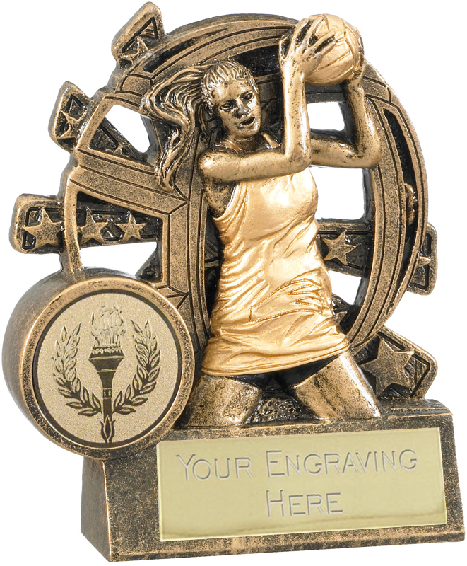"""Netball Trophy with Stars Background 9cm (3.5"""")"""