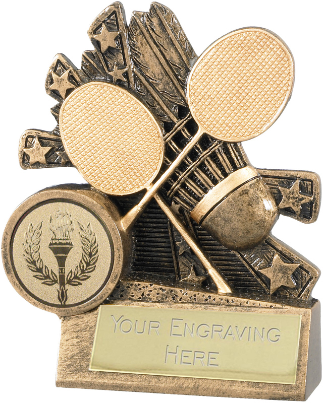 """Badminton Trophy with Gold Crossed Rackets 9cm (3.5"""")"""