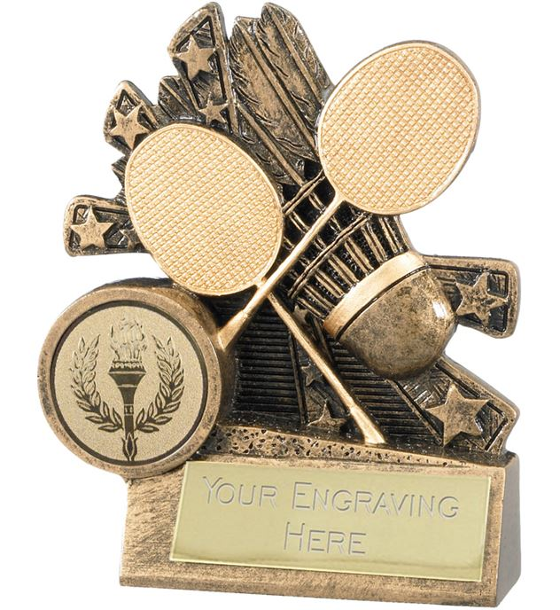 "Badminton Trophy with Gold Crossed Rackets 9cm (3.5"")"