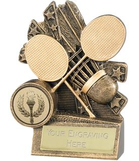 """Badminton Trophy with Gold Crossed Rackets 10cm (4"""")"""