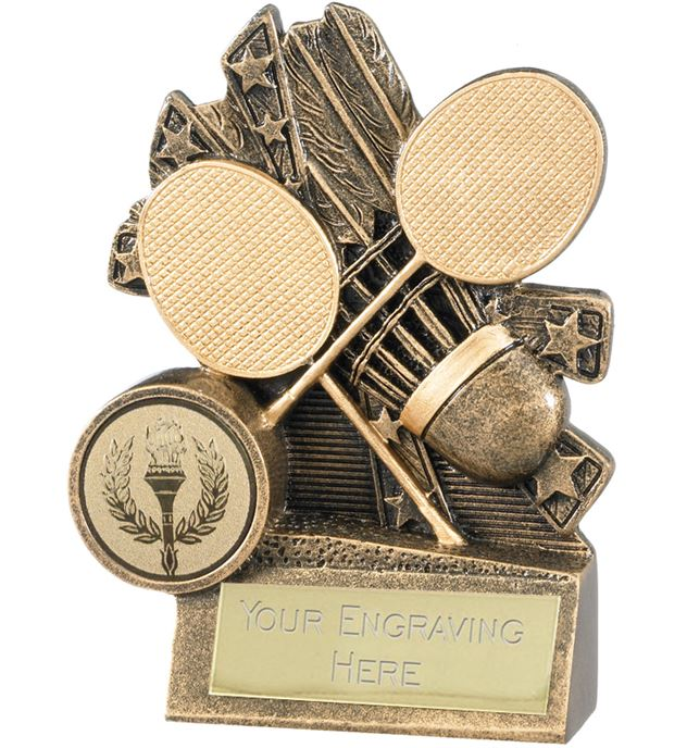 "Badminton Trophy with Gold Crossed Rackets 10cm (4"")"