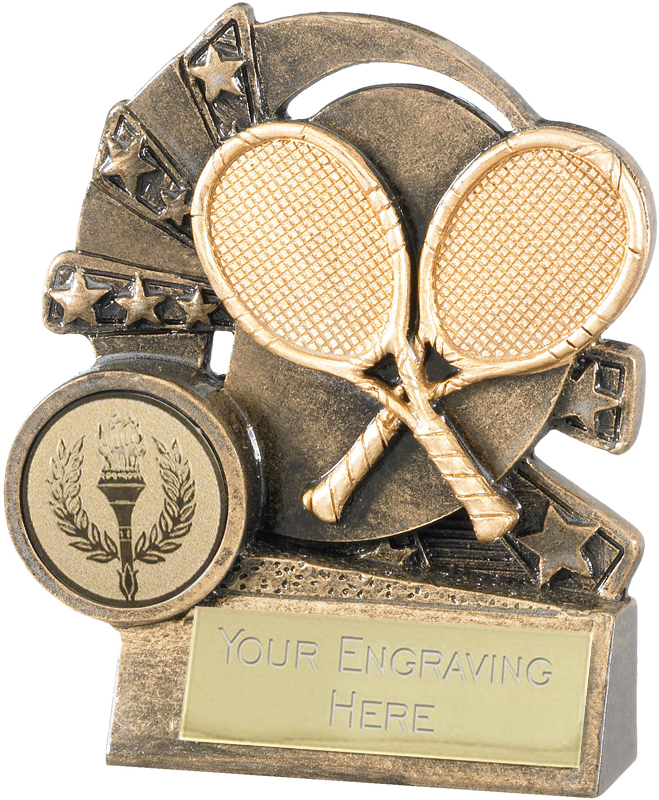 """Tennis Trophy with Gold Crossed Rackets 9cm (3.5"""")"""