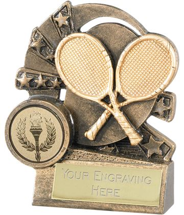 "Tennis Trophy with Gold Crossed Rackets 9cm (3.5"")"