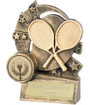 "Tennis Trophy with Gold Crossed Rackets 10cm (4"")"