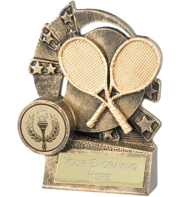 """Tennis Trophy with Gold Crossed Rackets 10cm (4"""")"""