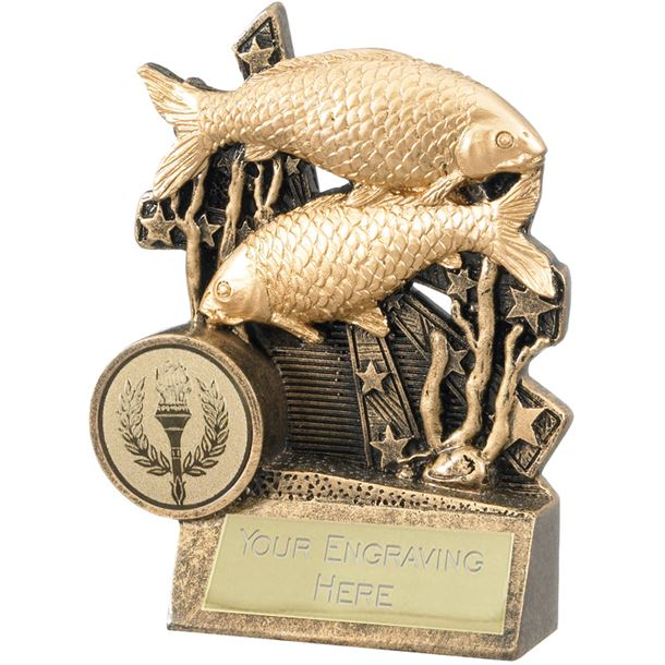 "Fishing Trophy with Stars Background 10cm (4"")"