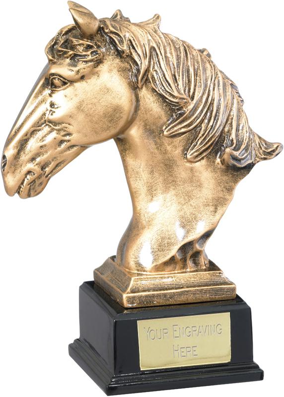 "Horse Head Trophy on Wooden Base 21cm (8.25"")"