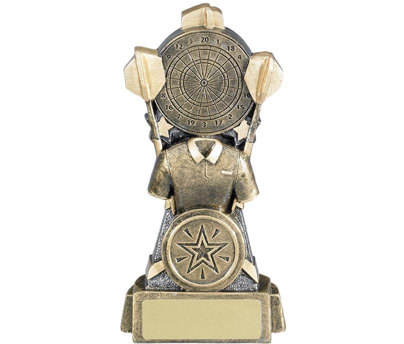 "Shirt & Dartboard Antique Gold Darts Trophy 13cm (5.25"")"