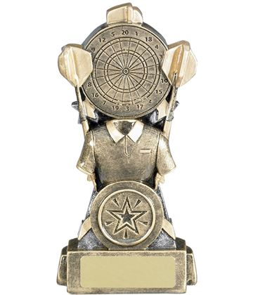 "Shirt & Dartboard Antique Gold Darts Trophy 15cm (5.75"")"