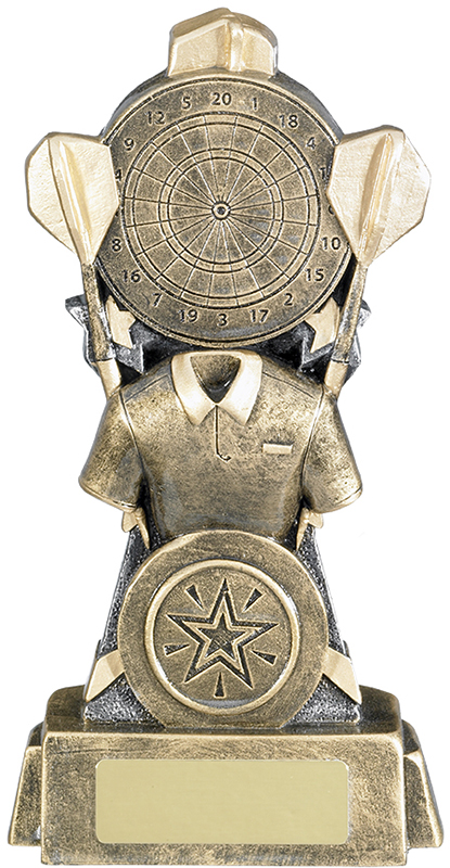"Shirt & Dartboard Antique Gold Darts Trophy 16cm (6.25"")"