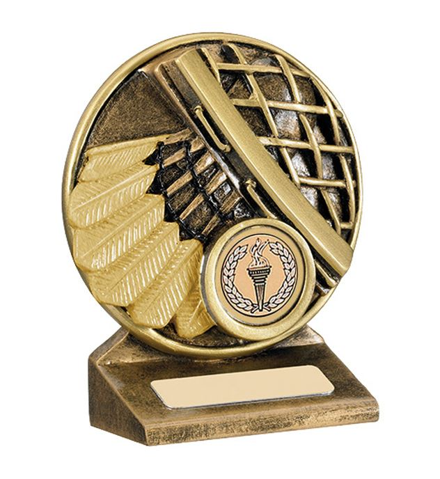 "Round Gold Resin Badminton Shuttlecock Trophy 9cm (3.5"")"