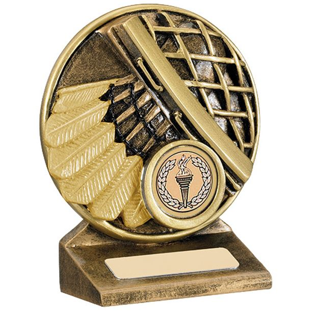 "Round Gold Resin Badminton Shuttlecock Trophy 11cm (4.25"")"