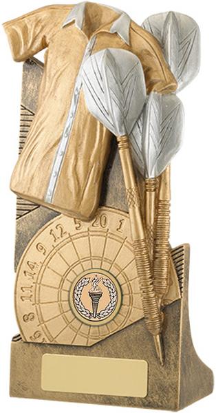 "Gold & Silver Darts Shirt & Darts Trophy 14cm (5.5"")"