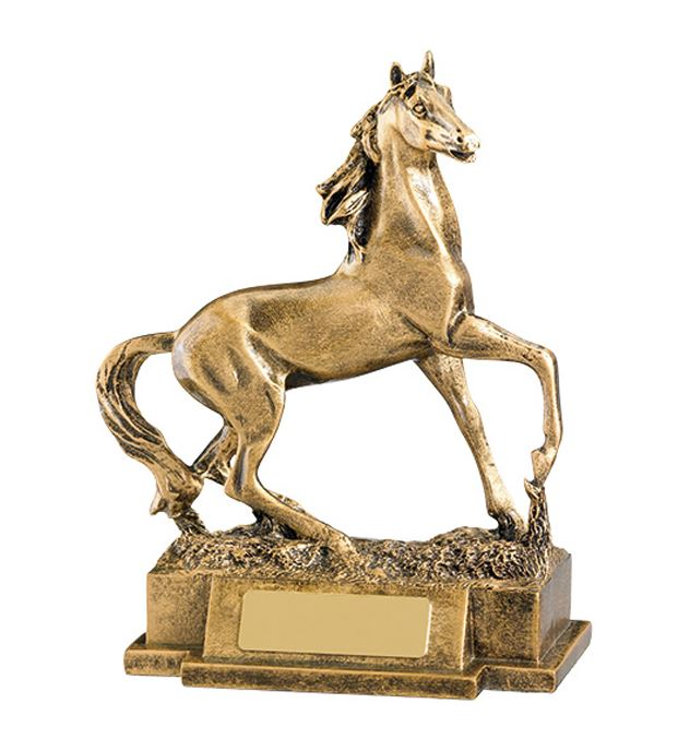 "Antique Gold Galloping Horse Trophy 16.5cm (6.5"")"