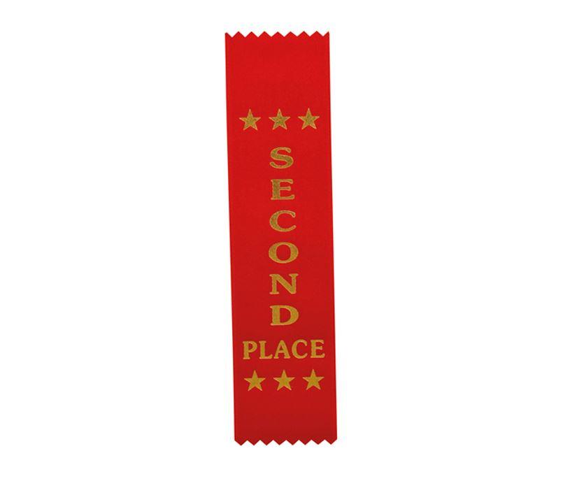 "2nd Place Award Ribbon Red 20cm x 5cm (8"" x 2"")"