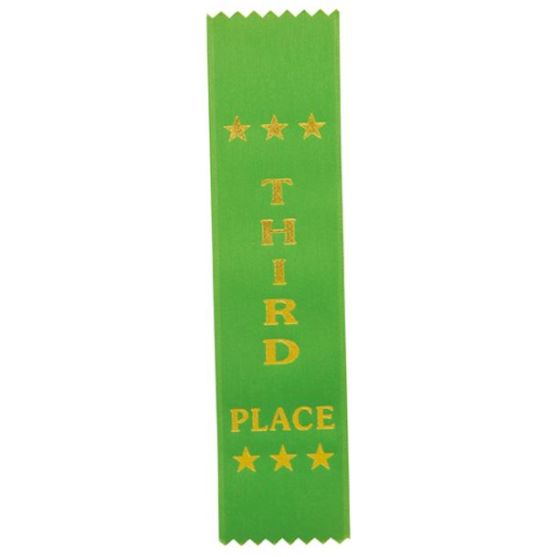 "3rd Place Award Ribbon Green 20cm x 5cm (8"" x 2"")"