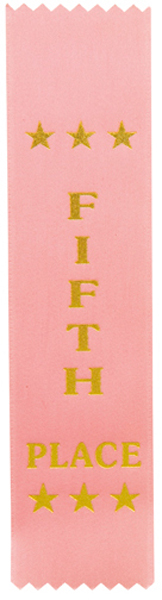 "5th Place Award Ribbon Pink 20cm x 5cm (8"" x 2"")"