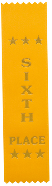 "6th Place Award Ribbon Yellow 20cm x 5cm (8"" x 2"")"