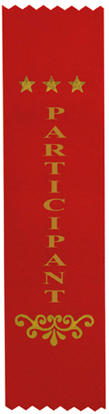 "Participant Award Ribbon Red 20cm x 5cm (8"" x 2"")"