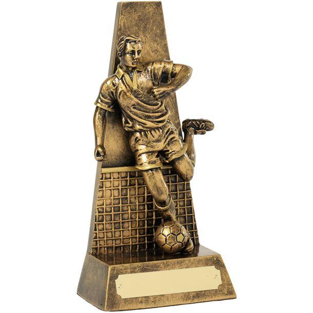 "Antique Gold Football Player & Net Trophy 20.5cm (8"")"