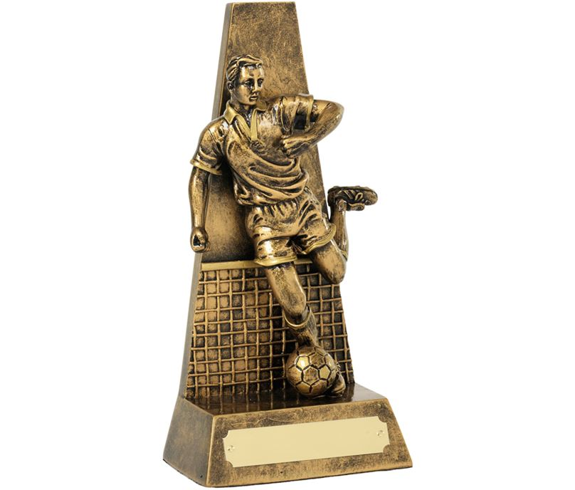 "Antique Gold Football Player & Net Trophy 20.5cm (8"")"