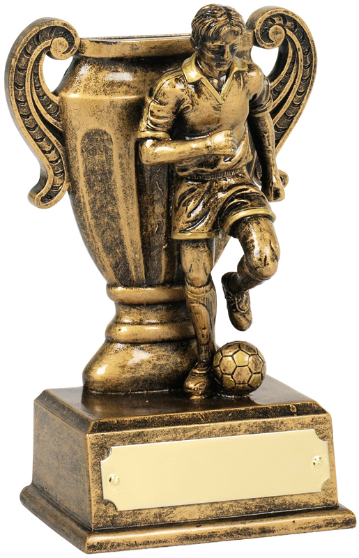 "Antique Gold Football Player & Cup Trophy 13.5cm (5.25"")"