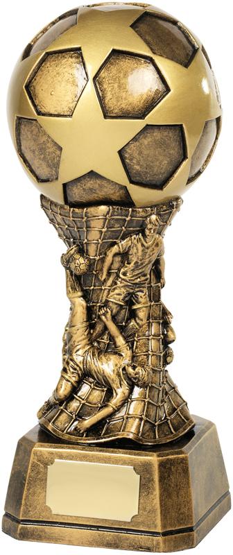 "Antique Gold Football Stars & Net Trophy 23cm (9"")"