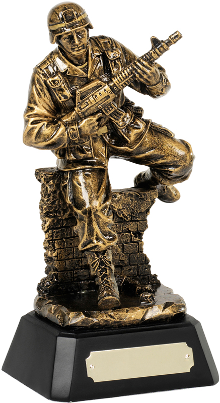 "Antique Gold Resin Military Award on Black Base 21cm (8.25"")"
