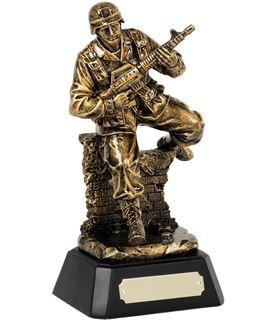 "Antique Gold Resin Military Award on Black Base 21cm (8.25"")"