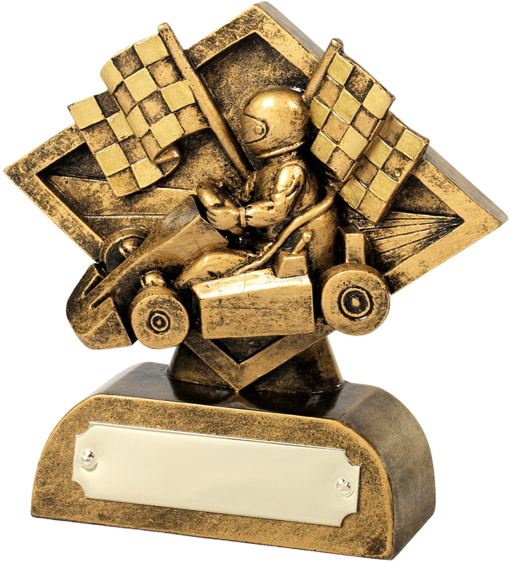 """Antique Gold Go-Kart & Chequered Flags Trophy 11.5cm (4.5"""")"""