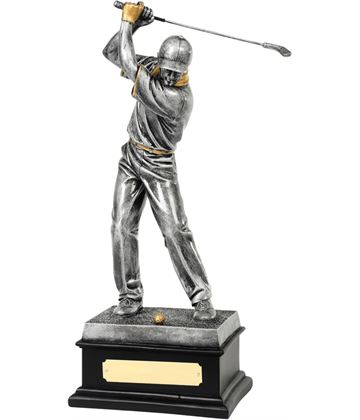 "Antique Silver Resin Golfer In Action Trophy 36cm (14.25"")"