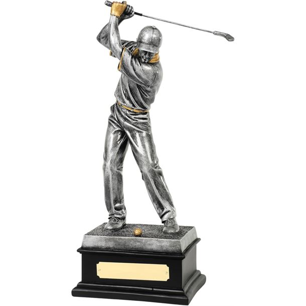 "Antique Silver Resin Golfer In Action Trophy 36cm (14.25"")"
