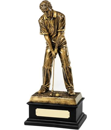 "Antique Gold Resin Golf Putting Trophy 32.5cm (12.75"")"