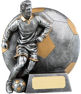 """Silver Resin Football Shaped Player in Action Football Trophy 12.5cm (5"""")"""