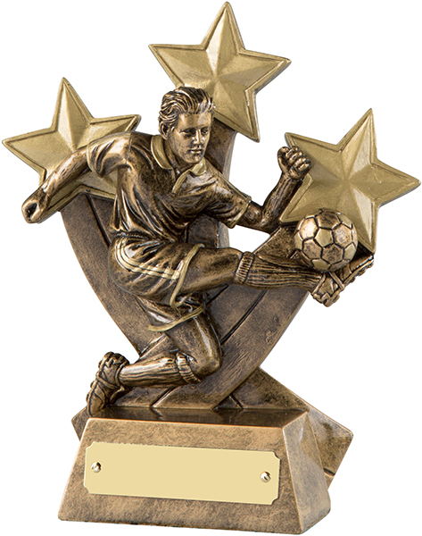 "Antique Gold Resin Player in Action Football Stars Trophy 16.5cm (6.5"")"